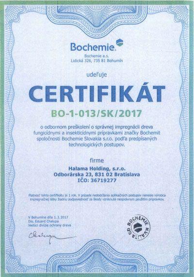 Certifikát pre spoločnosť Halama o odbornom preškolení o správnej impregnácii dreva