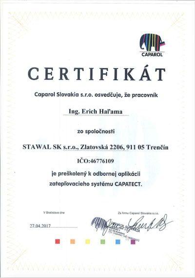 Certifikát pre spoločnosť Halama k odbornej aplikácii zatepľovacieho systému CAPATECT