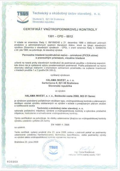 Certifikát vnútropodnikovej kontroly pre spoločnosť Halama